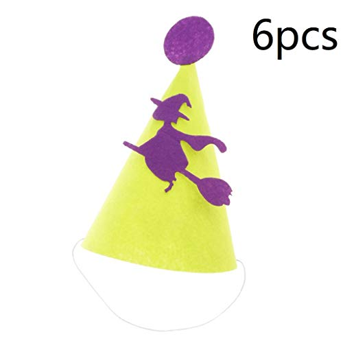 6pcs Halloween Party Hat Mini Cone Cap Kids Felt Cone Hat Party Costume Headwear Halloween Head Accessories for Children Kids - Witch]()