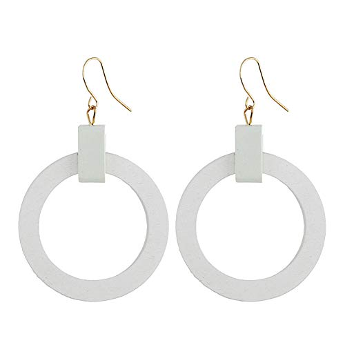 Vintage Geometric Round Circle Wood Dangle Earrings For Women Girls Jewelry Gift (white)