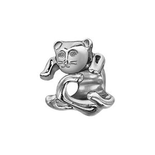 1001Bijoux–charms deslizante plata rhodié gato enrollado