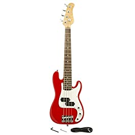 EDMBG Electric Base Guitar, Small Scale 36 Inch Children's Sized Mini, Color: Red