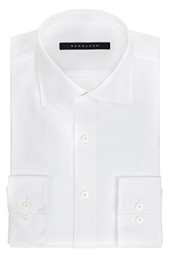 Sean John Tailored Dress Shirt (Sean John Men's Regular Fit Solid Spread Collar Dress Shirt, White, 16