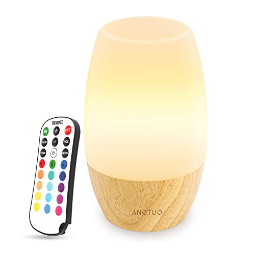 Lamp Table Night Light Base (ANGTUO LED Wooden Night Light, Silicone Baby Table Bedside Night Light with Remote for Bedrooms, Cute Infant Toddler Kids Cool Color Changing Brightness Adjustment Nursery Breastfeed Lamp, US Plug)