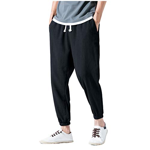 - Zainafacai_shorts Men's Cotton Linen Pant Drawstring Elastic Waist Casual Loose Ankle-Length Trouser Pants Black