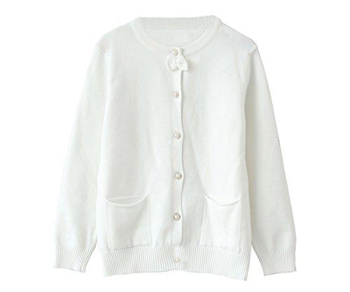 Angora Cardigan (SMILING PINKER Little Girls Crewneck Cardigans Solid Bow Knit Sweaters Button Long Sleeves Coats Outwear (5-6t, White))