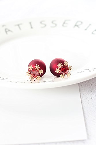 KENHOI Beauty hanging frosted earrings earings dangler eardrop pearl creativity korea after dual-use needles red snowflake year ()