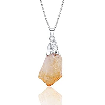 Natural Silver CITRINE Pendant HANDMADE Chakra Crystal Point Necklace Protection