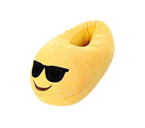DELEY Unisex Cartoon Emoji Slippers Winter Warm Creative Expression Plush Home Shoes Sunglass btkFkN3mh