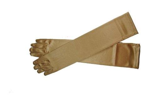 (1Pair Women Arm Long Satin Finger Elbow Glove Evening Party Bridal Wedding Opera (Nude))