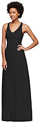 David's Bridal Long Bridesmaid Dress with Crisscross Back Straps Style W10974