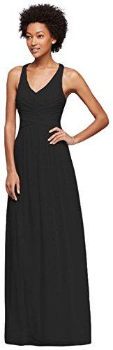 Style Long Straps Dress David's Back Crisscross Black Bridesmaid W10974 with Bridal OfqTww5x8