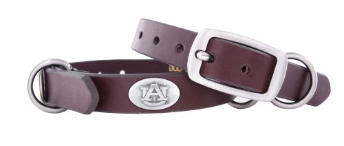 Leather Tigers (ZEP-PRO Auburn Tigers Brown Leather Concho Dog Collar, Small)