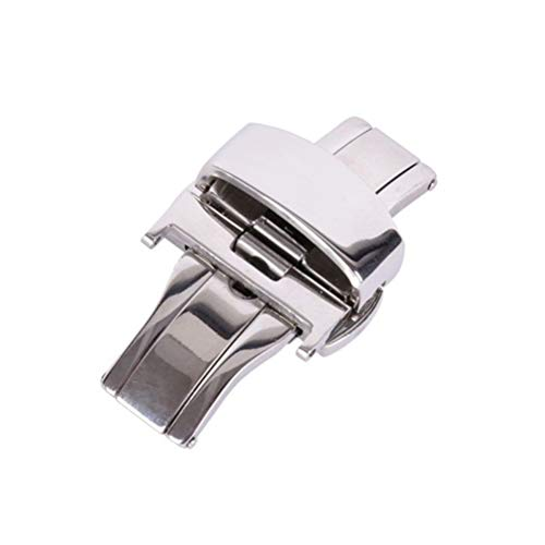 Stainless Steel Watch Buckle Double Push Button Butterfly Deployment Clasp For Watch Band Strap 12MM (Silver)