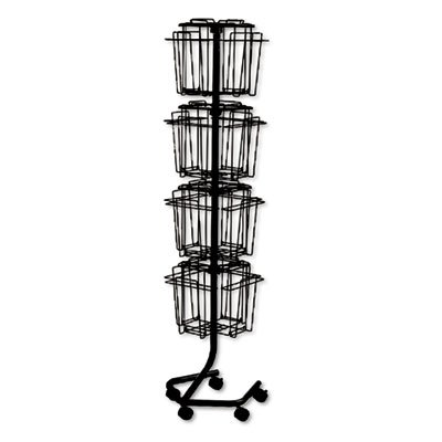 Wire Rotary Display Racks, 16 Compartments, 15w x 15d x 60h, Charcoal, Sold as 1 Each -