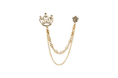 (Knighthood Gold Crown with Swarovski Detailing and Crown Pattern Chain Brooch)
