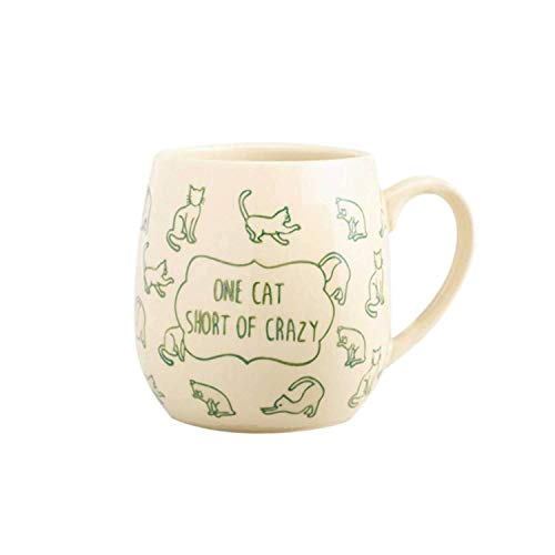 Crazy Cat Lady Coffee Mug  - Best Cat Themed Gifts for Cat Lovers and Coffee Lovers   Large Ceramic Coffee Mug   One Cat Short of Crazy Novelty Mug   18 Oz, Green
