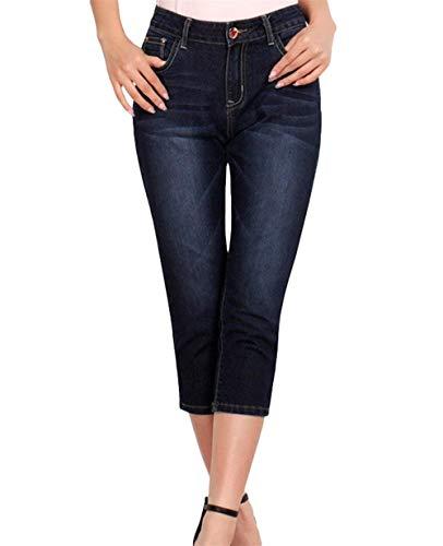 Adelina Vaqueros Mujer De Moda Fit Estiramiento Bolsillos Jeans Pantalones Mezclilla Slim 7 Blau Con Flacos Botones Para Pantalón 8 Capri Schwarz Ropa qYrxXY4w5