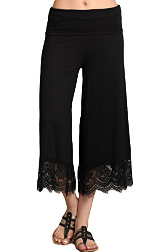 HEYHUN Women's Solid Wide Leg Flared Capri Boho Gaucho Pants w/Lace Detail - Black - Large