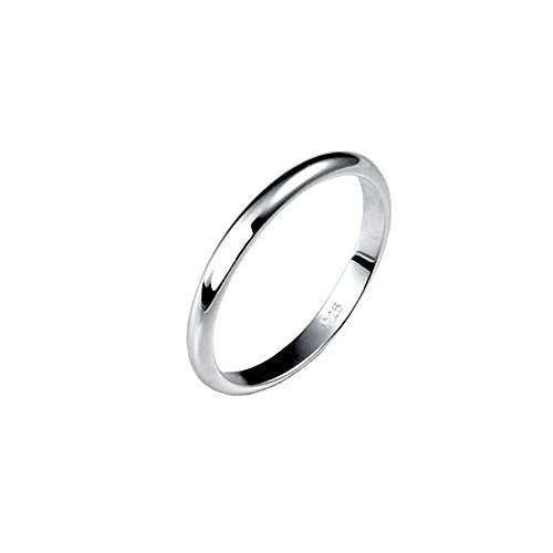 (2MM Sterling Silver High Polished Half-Round Light Comfort Fit Classy Dome Wedding Band Ring)