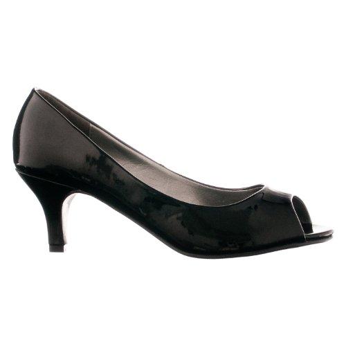 Lasonia Kvinna M2571 Patent Peep Toe Pumps Black Patent
