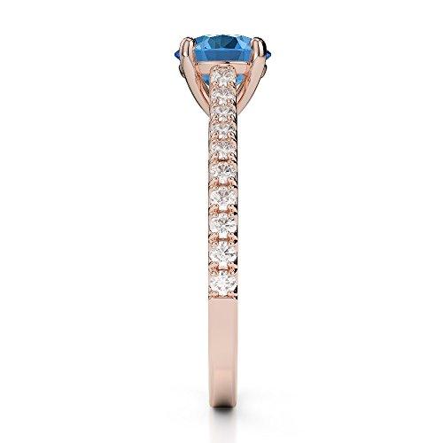 Or Rose 18carats 1CT G-H/VS sertie de diamants Coupe ronde Topaze bleue et bague de fiançailles Agdr-1213