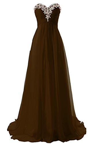 Robes De Demoiselle D'honneur Robe De Bal Longue Soirée Formelle En Mousseline De Soie Robe Chocolat Ligne