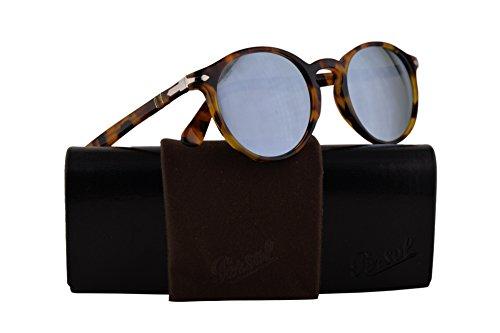 Persol PO3171S Sunglasses Madreterra w/Light Green Mirror Silver Lens 49mm 105230 PO 3171S PO3171-S PO 3171-S ()
