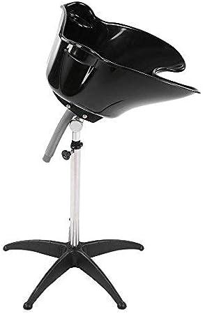 Lavacabezas portátil, lavacabezas peluquería champú cuenco lavabo con desagüe, fregadero para cabello profesional, ajustable y rotación, pelo salón de herramientas, 51 x 51 x 31,5 cm, negro