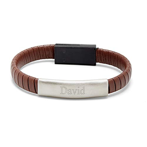 - Eve's Addiction Engravable Brown Leather USB Phone Cable Bracelet