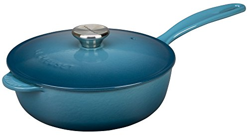 Le Creuset L2557-246MS Enameled Cast Iron Pan Saucier, Marine, 3 Quart