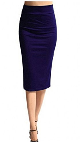 ODN Bande lastique pour Femme Ruban lastique Coton Jupe mi-Longue Bleu