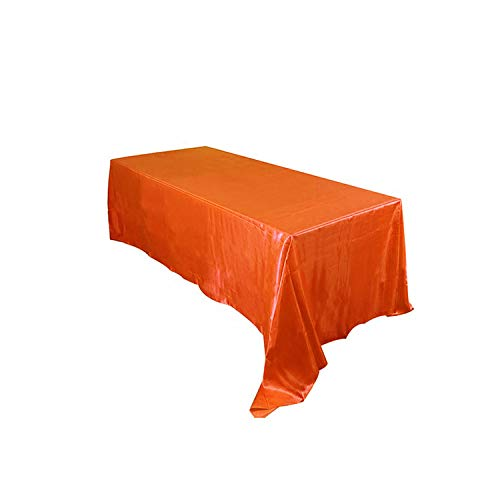 QKKstore 1Pcs Satin Tablecloth Rectangular Hotel Banquet Table Cloth for Wedding Party Christmas Table Cover Home Decoration,Coral Orange,57X98Inch-145X250Cm from QKKstore