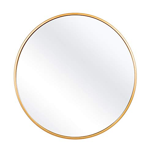 FENORI 27.56 Inch Large Round Wall Mirror - Contemporary Circle Mirror for Accent Bedroom Living Room Entryway, Metal Gold Frame Mirror