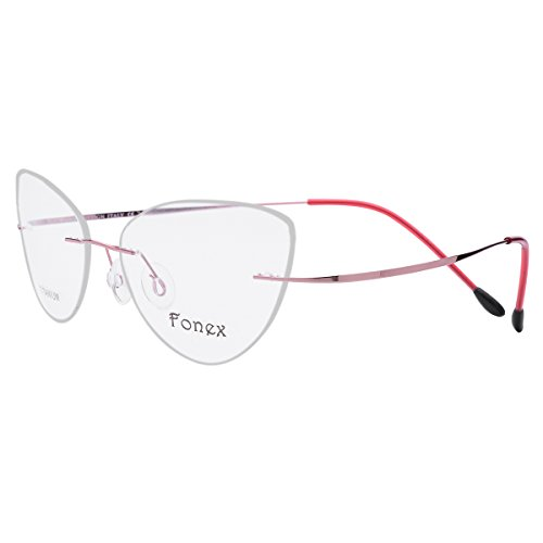 FONEX Titanium Cat eye Rimless Glasses Eyeglasses Myopia Optical Frames 10001 (Pink, - Cateye Rimless Eyeglasses