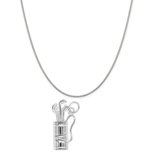 """Sterling Silver Golf Bag Charm Pendant on a Sterling Silver Box Chain Necklace, 20"""""""