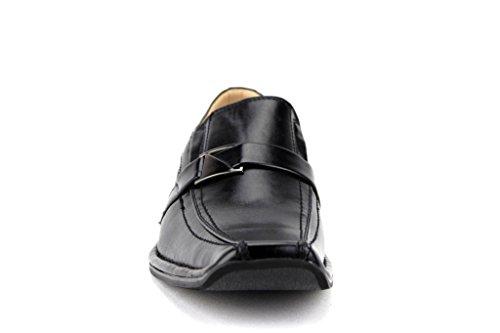 Majestueuze Heren 88206 Squared Toe Gesp Jurk Loafers Schoenen Zwart