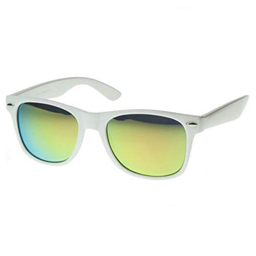White Retro Horn Rimmed Sunglasses Yellow Mirrored Lens Vintage - Revo Wayfarer