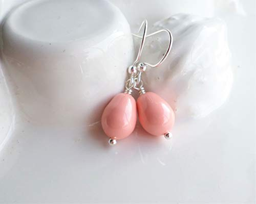 (Pink Coral Swarovski Teardrop Pearl Silver Drop Earrings)