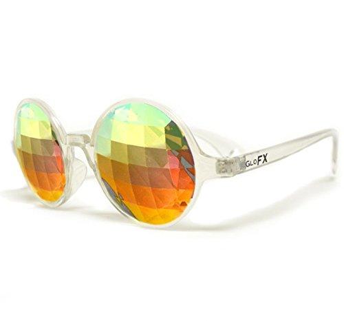 GloFX Clear Kaleidoscope Glasses - Rainbow Lens Bug Eye - Flat Back