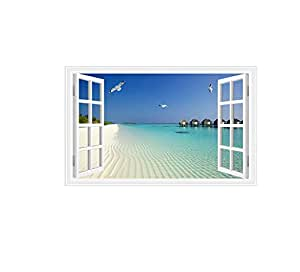 Home Decoration Stickers Fake Window Seagull Beach Sea Fresh Air Living Room Bedroom Decoration Wallpaper PVC Material Removable Environment Protection Home Decor Sticker