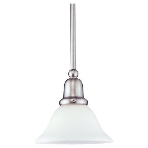 Sea Gull Lighting 61060-962 Sussex One-Light Mini-Pendant with Satin White Glass Shade, Brushed Nickel Finish