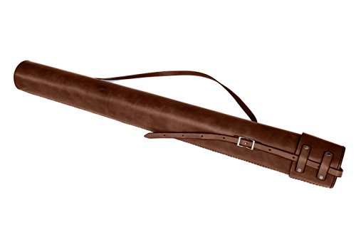 Blueprint Artwork Map Handsewn Leather Tube Carrying Case (Dark Brown) by Walnut Studiolo
