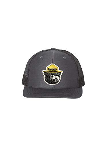 Bear Mesh - Wear Your Roots Snapback Trucker Hat (One Size - Adjustable, Smokey Bear Yellow Hat Charcoal/Black Mesh)