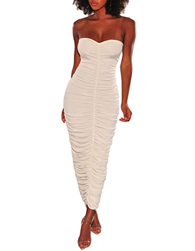 Womens Sexy Summer Outfits - Off The Shoulder Sleeveless Ruched Drawstring Tube Slim Fit Party Long Maxi Dress White S