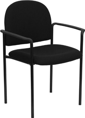 Black Fabric Stackable - Comfortscape Black Fabric Stackable Steel Side Reception Chair with Arms
