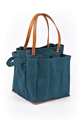 Capabunga MT02 Tote+Able 7-Pocket Farmer's Market Tote, Petrol Blue