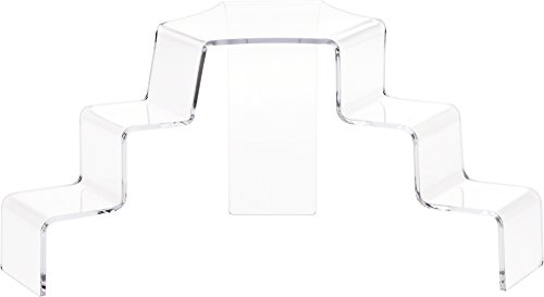 Plymor Brand Clear Acrylic 3-Step 2-Sided Stair Display Riser 5.25