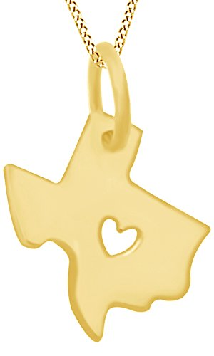 AFFY US Texas State Sign Heart Cut Out Charm Pendant Necklace in 14K Solid Yellow Gold
