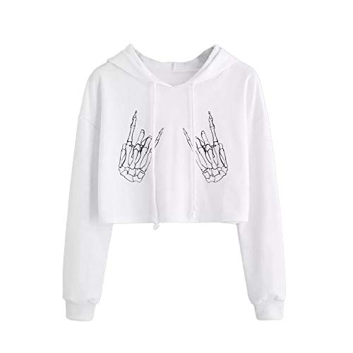 ANJUNIE Womens Printing Short Hoodies Sweatshirt,Long Sleeve Casual Round Neck Pullover Slim Tops (White, M)]()