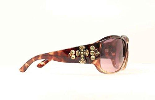 Blazin Roxx Women's Uv 400 Protection Rhinestone Cross Concho Sunglasses Brown One - Equestrian Sunglasses