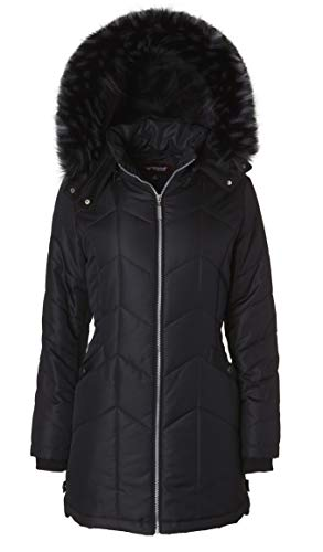 - Women's Long Down Alternative Puffer Coat Detachable Plush Lined Fur Trim Hood - Black (Large)